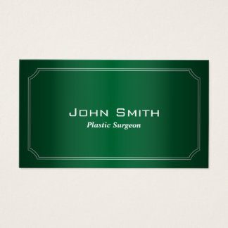 Classic Green Plastic Surgeon Business Card