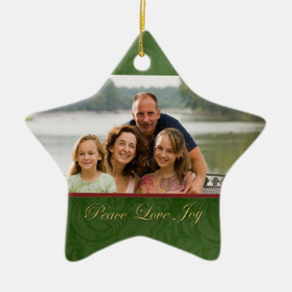 Classic green red christmas family photo ornament