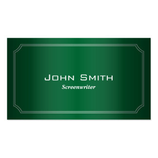 Classic Green Screenwriter Business Card