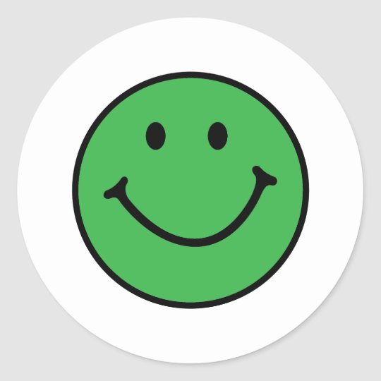 classic green smiley face classic round sticker
