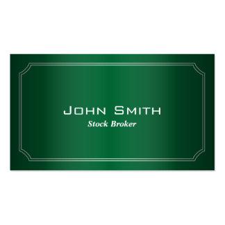 Classic Green Stock Broker Business Card