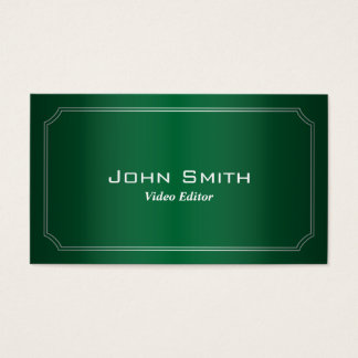 Classic Green Video Editor Business Card