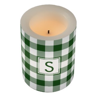Classic Green White Gingham Pattern with Monogram Flameless Candle