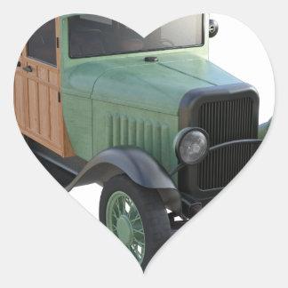 Classic Green Woody Truck Heart Sticker