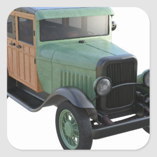 Classic Green Woody Truck Square Sticker