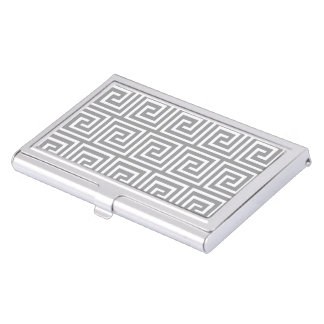 Classic Grey and White Greek Key Pattern Case For Business Cards