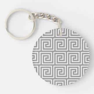 Classic Grey and White Greek Key Pattern Keychain