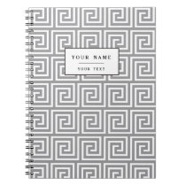 Classic Grey and White Greek Key Pattern Notebook