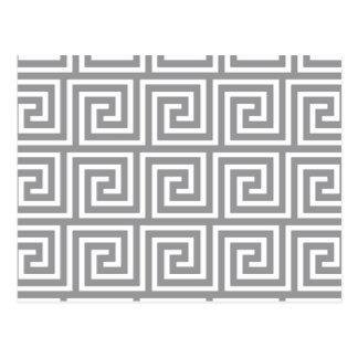 Classic Grey and White Greek Key Pattern Postcard