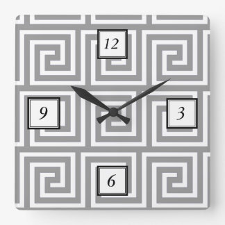 Classic Grey and White Greek Key Pattern Square Wall Clock