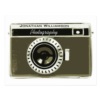 Classic Grey Camera Photography Business Postcard