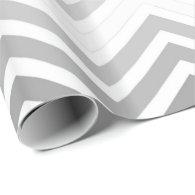 Classic grey, white chevron zigzag happy holidays gift wrap paper