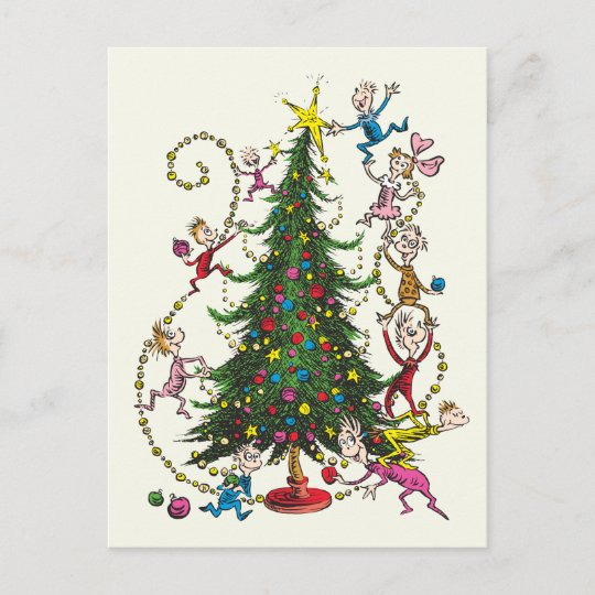The Grinch Christmas.Classic Grinch Christmas Tree Holiday Postcard