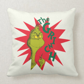 Classic Grinch | Red Starburst Throw Pillow