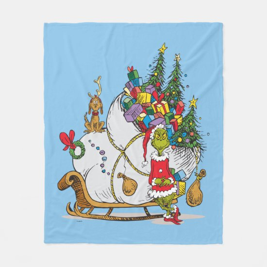 Classic Grinch | The Grinch & Max with Sleigh Fleece Blanket