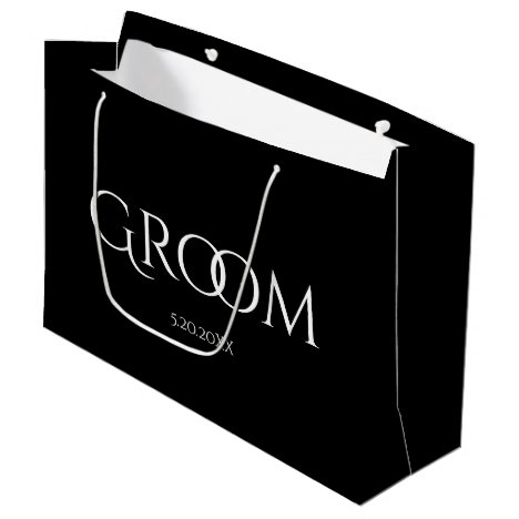 Classic Groom Black and White Large Gift Bag