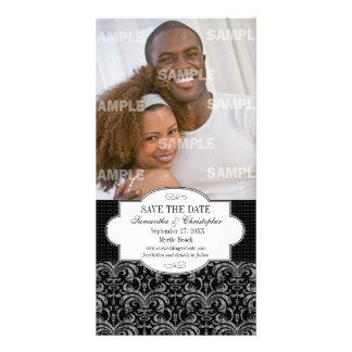 Classic Grunge Damask Save The Date Photo Card