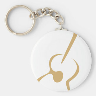 Classic Guitar in Swish Drawing Style Basic Round Button Keychain