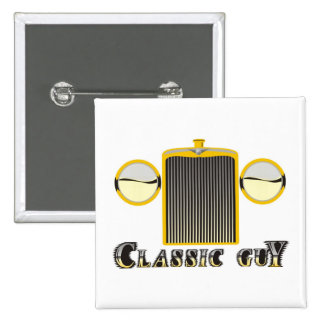 Classic Guy – Shiny chrome grille from classic car Pinback Button