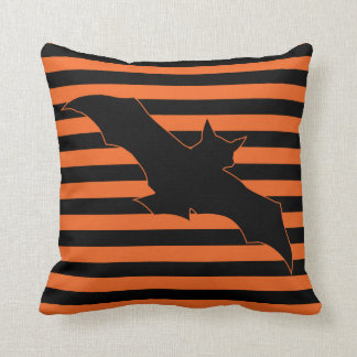 Classic Halloween Bat Stripes Throw Pillow