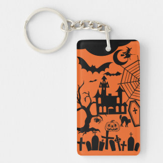 Classic Halloween Collage Rectangle Acrylic Key Chains