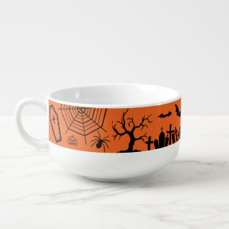 Classic Halloween Collage Soup Bowl With Handle