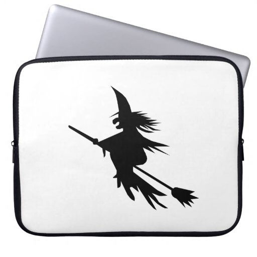 Classic Halloween Flying Witch on Broomstick Laptop Sleeve