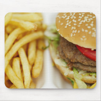 classic hamburger and fries mouse pad