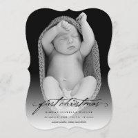 Classic Handwriting Baby 1st Christmas Photo Card
