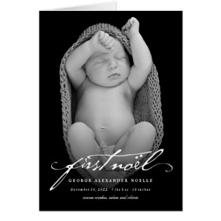 Classic Handwriting Baby First Noel Photo Card
