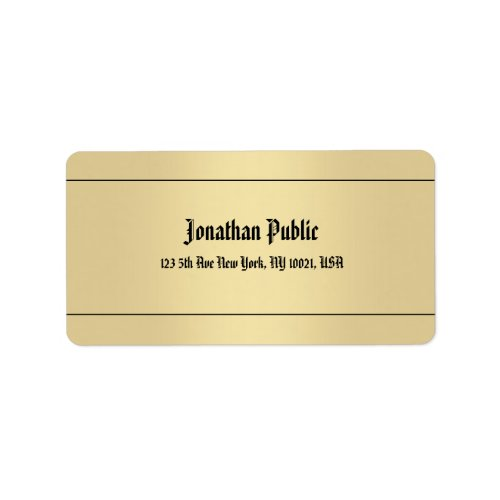 Classic Handwritten Name Gold Look Cool Address Label