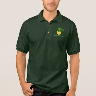 Classic Happy Face with a Leprechaun Hat Polo Shirt
