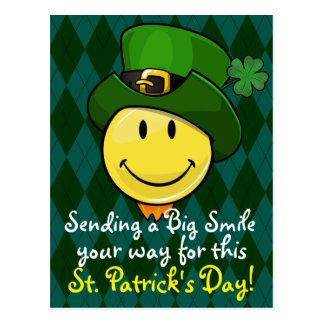 Classic Happy Face With an Irish Leprechaun Hat Postcard