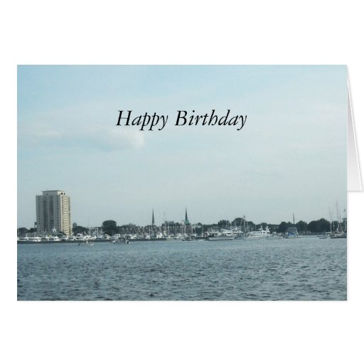 Classic Harbor Scene Birthday Card