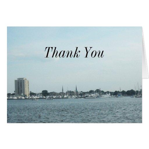 Classic Harbor Scene Thank You Card