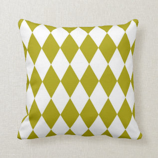 Classic Harlequin Diamond Pattern Chartreuse Throw Pillow at Zazzle