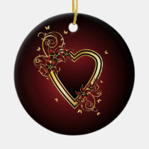 Classic Heart Ceramic Round Ornament