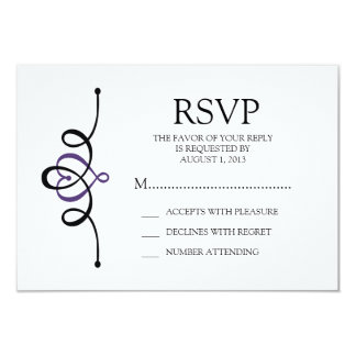 Classic Heart Purple Traditional Wedding RSVP Card
