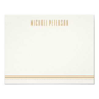 Classic Hexagon Men's Stationery - Gold Card