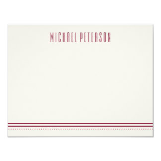 Classic Hexagon Men's Stationery - Maroon Card