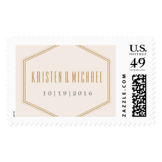 Classic Hexagon Postage Stamp - Gold