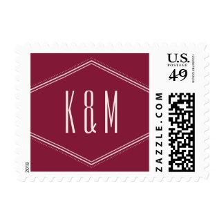 Classic Hexagon Postage Stamp - Maroon