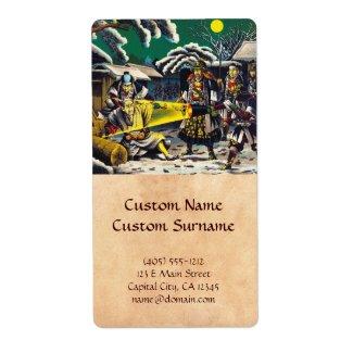 Classic historical painting Japan Bushido paragon Custom Shipping Label