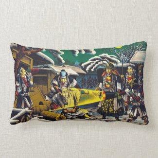 Classic historical painting Japan Bushido paragon Throw Pillow
