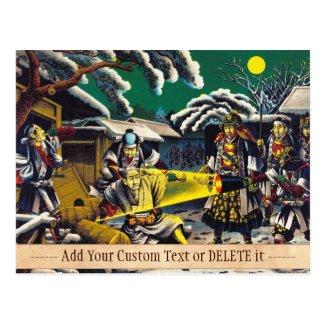 Classic historical painting Japan Bushido paragon Post Card