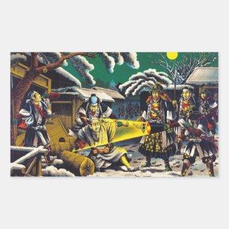 Classic historical painting Japan Bushido paragon Rectangle Sticker