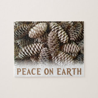 Classic Holiday Pine Cone Peace On Earth Jigsaw Puzzle