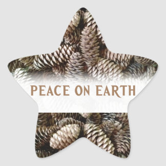 Classic Holiday Pine Cone Peace On Earth Star Sticker