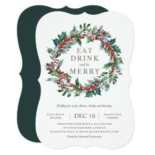 Classic Holiday Wreath Party Invitation at Zazzle