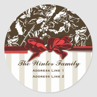 Classic Holly Holiday Address Label Round Stickers